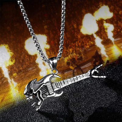 Ghost Rock Skull Guitar Necklace For Men