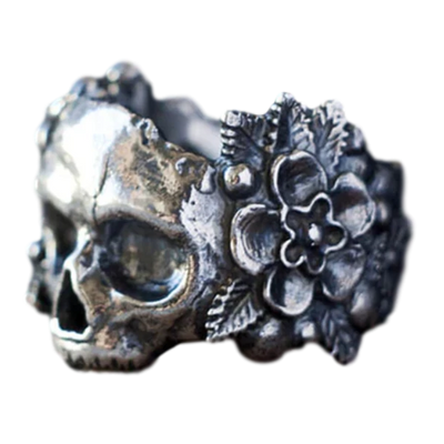 Stainless Steel Gothic Sugar Skull Ring For Women