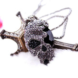 Black Crystal Skull Necklace For Women
