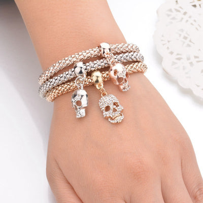 Elegant Triple Skull Bracelet For Women