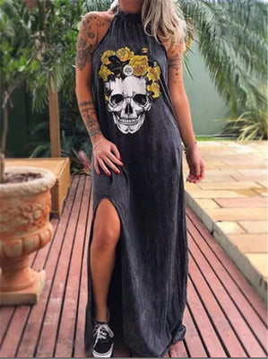 Floral Skull Sleeveless Dress