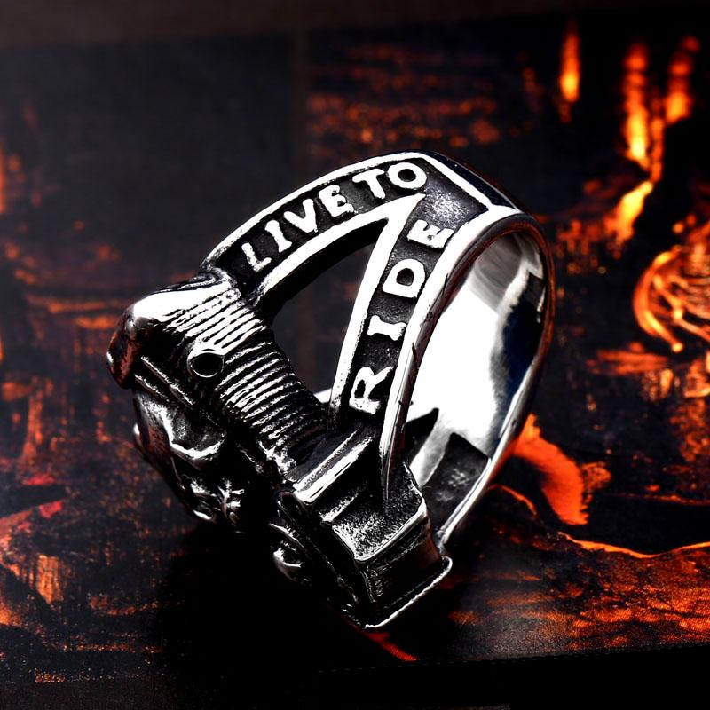 Live To Ride Skull Ring For Men