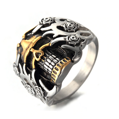 Rose Armour Skull Ring For Men