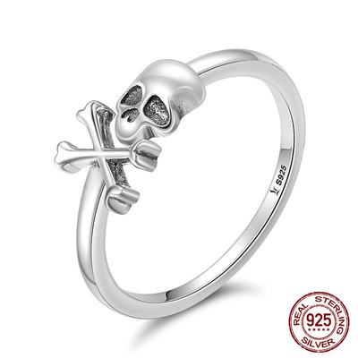 Sterling Silver Cross Bone Skull Ring For Women