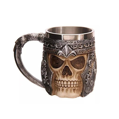 Stainless Steel Viking Skull Coffee Mug