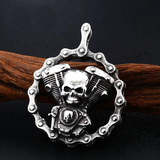 Heavy Twin Engine Skull Necklace For Men