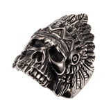 Feather Dayak Indian Headdress Skull Ring For Men