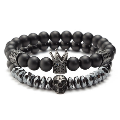 Crown King Skull Bracelet Set For Men Women