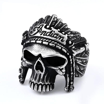 Indian Chief Skull Ring For Men