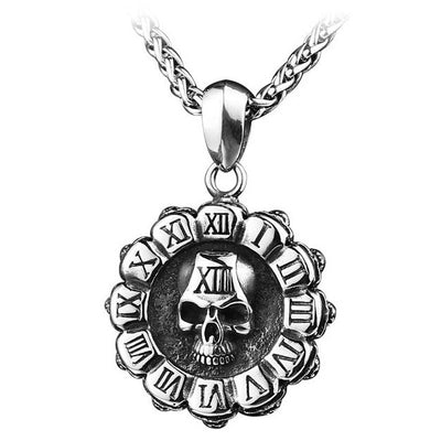 Vintage Roman Numeral Skull Necklace for Men