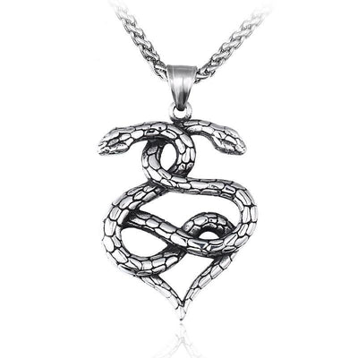 Double Snake Amulet Necklace For Men Women