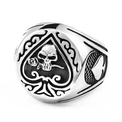 Skull Bites Rose Spade Ring For Men