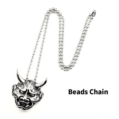 Japanese Ghost Mask Necklace For Men Skull Lovers