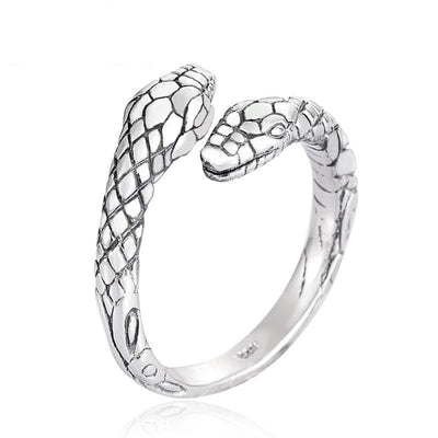 925 Sterling Silver Twin Head Snake Ring For Women