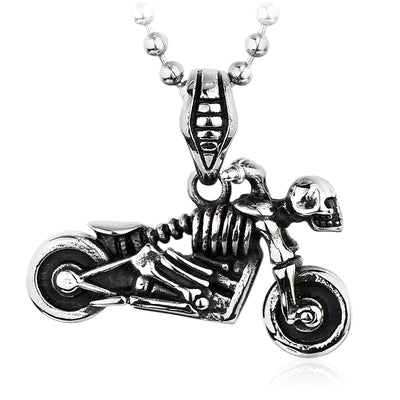 Skeleton Motorcycle Skull Necklace For Men