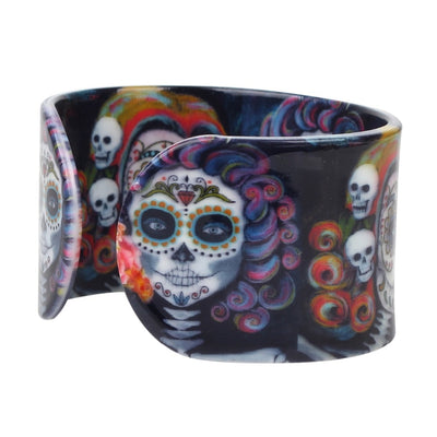 Floral Sugar Skull Bangle Bracelet For Women