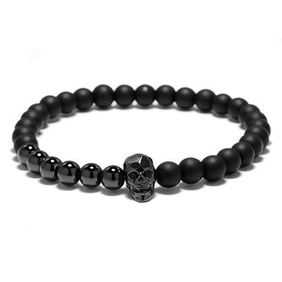 Black Power Iron Skull Bracelet For Men Women