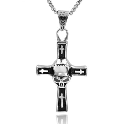 Gothic Skull Cross Necklace For Men