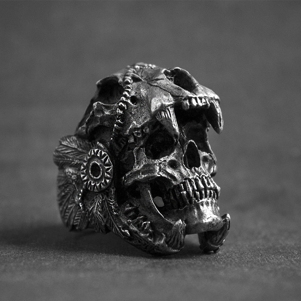 Jaguar Warrior Skull Ring For Men