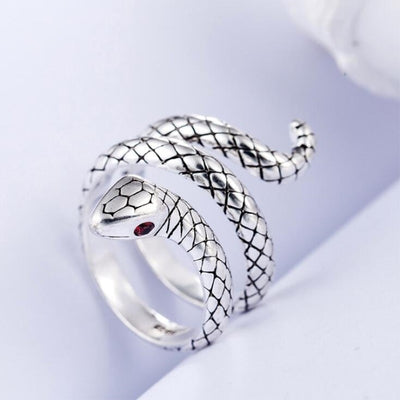 Sterling Silver Snake Ring For Women Men Skull Lovers