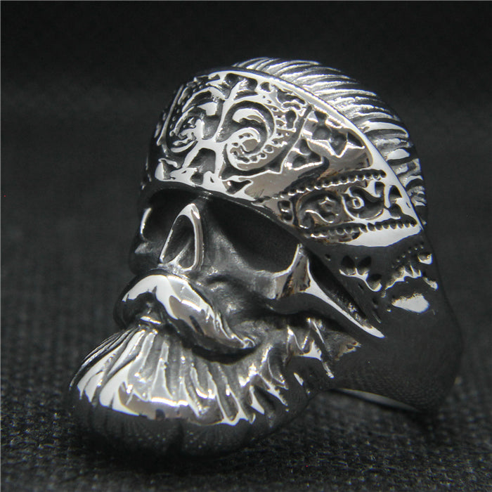 Bearded Skull Biker Ring For Men
