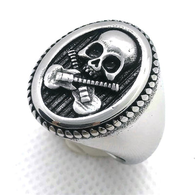 Cross Guitar Skull Ring For Men