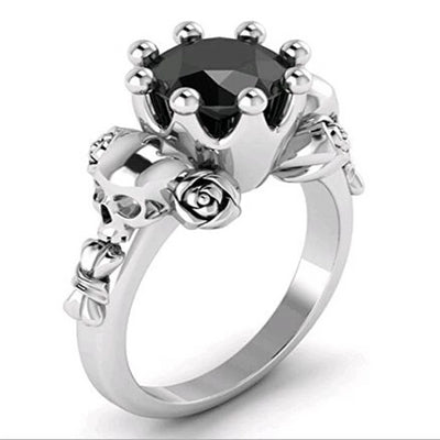 Black Crystal Rose Skull Ring For Women