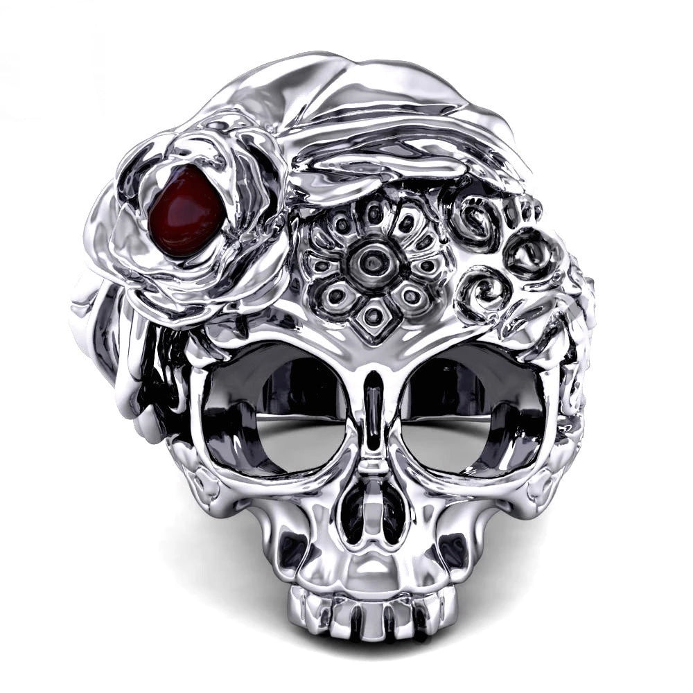 Flower Sugar Skull Ring For Women