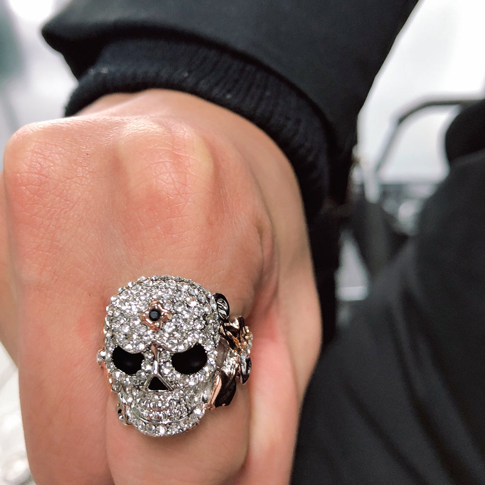Rose And Crystal Skull Engagement Ring For Women