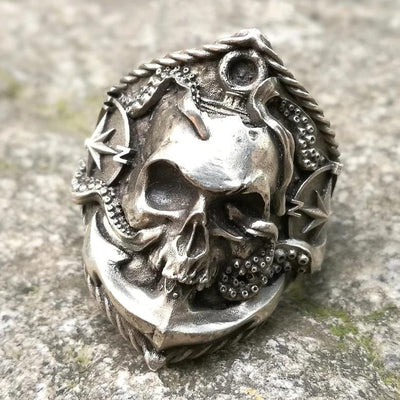 Anchor Compass Pirate Skull Ring For Men