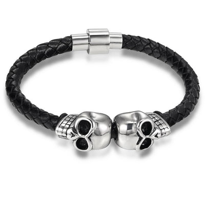 Twin Steel Skull Bracelet For Men