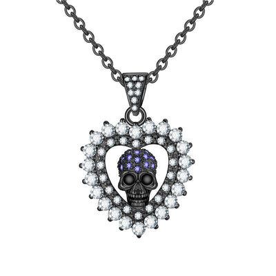 Crystal Heart And Skull Necklace For Women