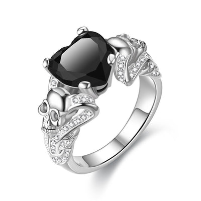 Starry Heart Skull Ring For Women- Stock Clearance