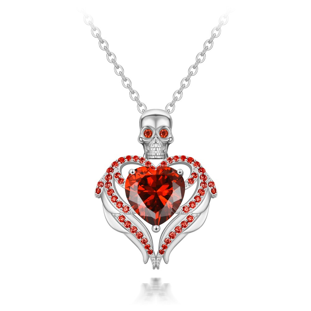 Gothic Skull Heart Statement Necklace For Women