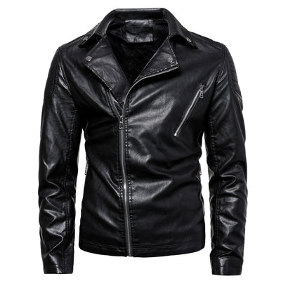 Men's Solid Faux Leather Jacket
