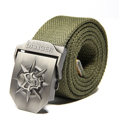Skull Canvas Buckle Belt For Men