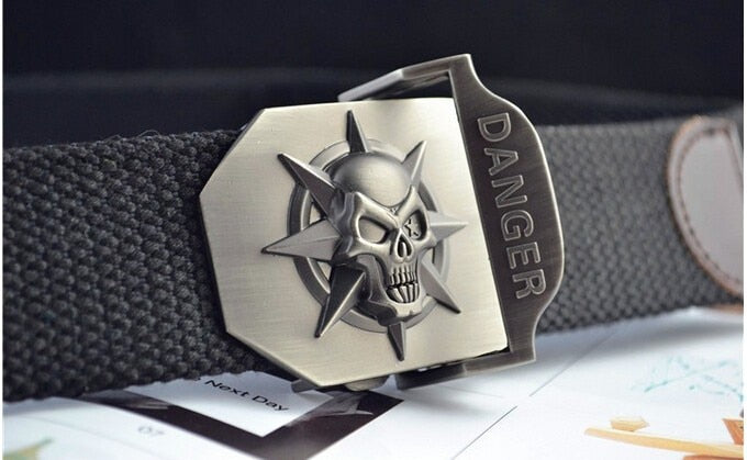 Skull Canvas Belt For Men