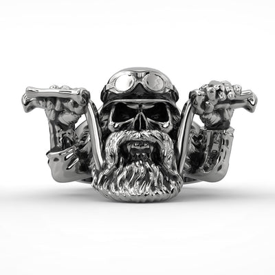 Bearded Biker Skull Ring For Men