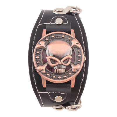 Metal Skull Leather Band Wrist Watch