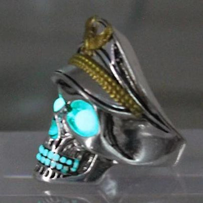 Glow In The Dark Skull Officer Ring For Men
