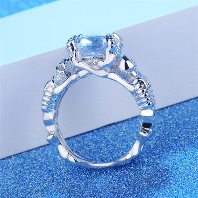Crystal On Skull Engagement Ring For Women