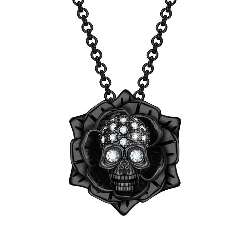 Flower Skull Necklace For Women