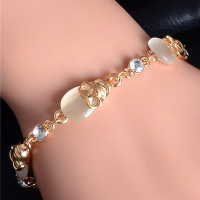Crystal Gold Skull Bracelet For Women