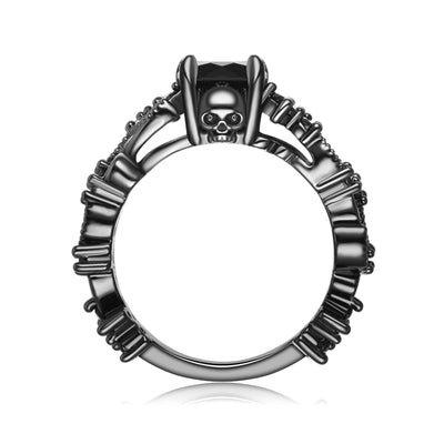 Deep Black Skull Ring For Women