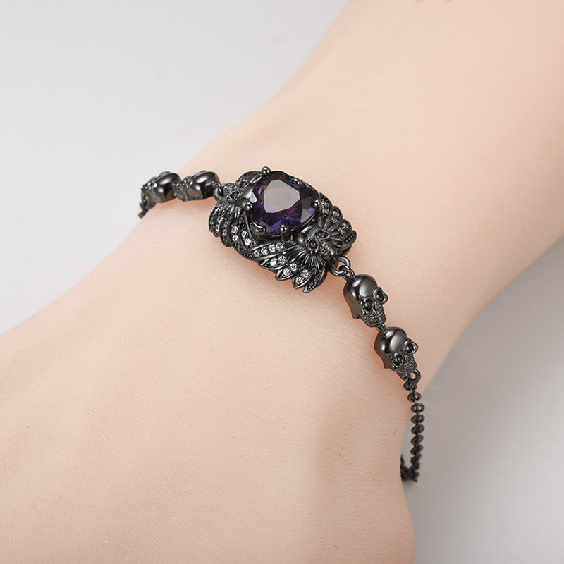 Skull Heart Crystal Bracelet For Women