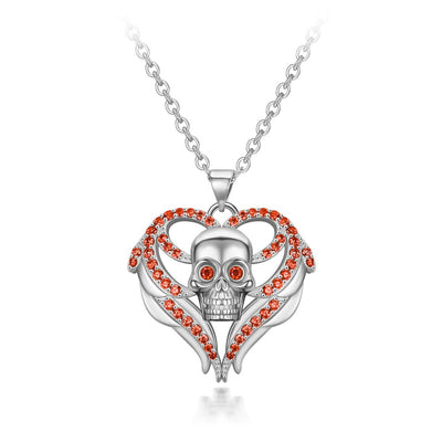 Crystal Heart Skull Statement Necklace For Women