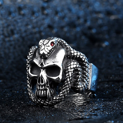 Snake Skull Ring For Men