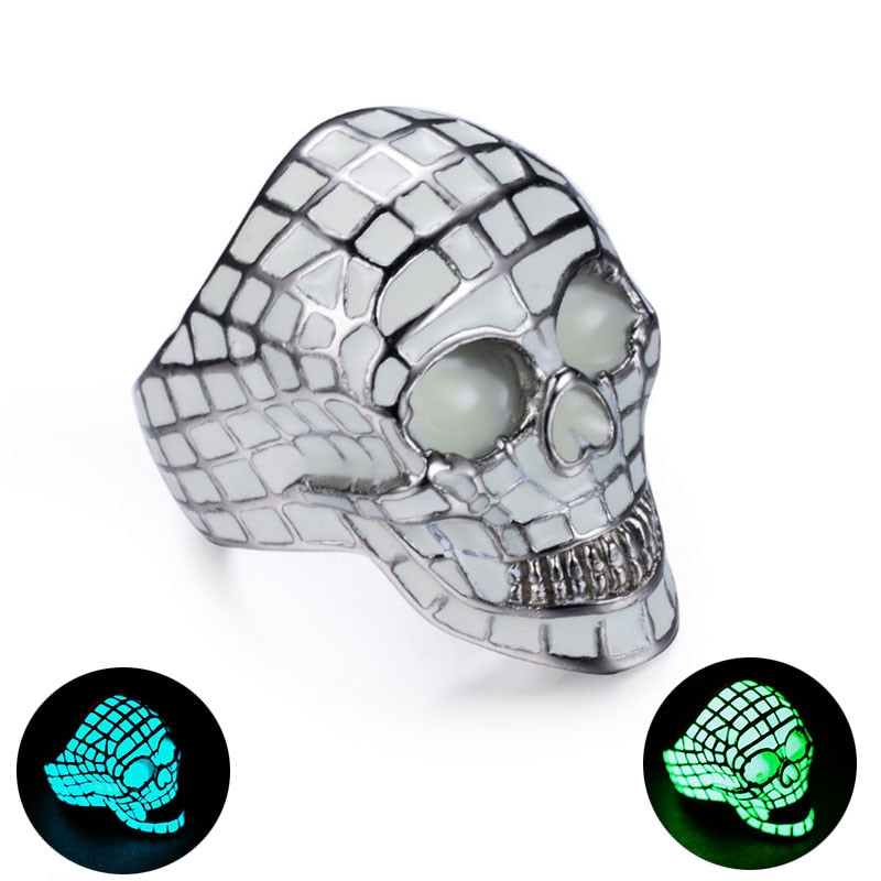 Dark Glow Skull Ring For Men
