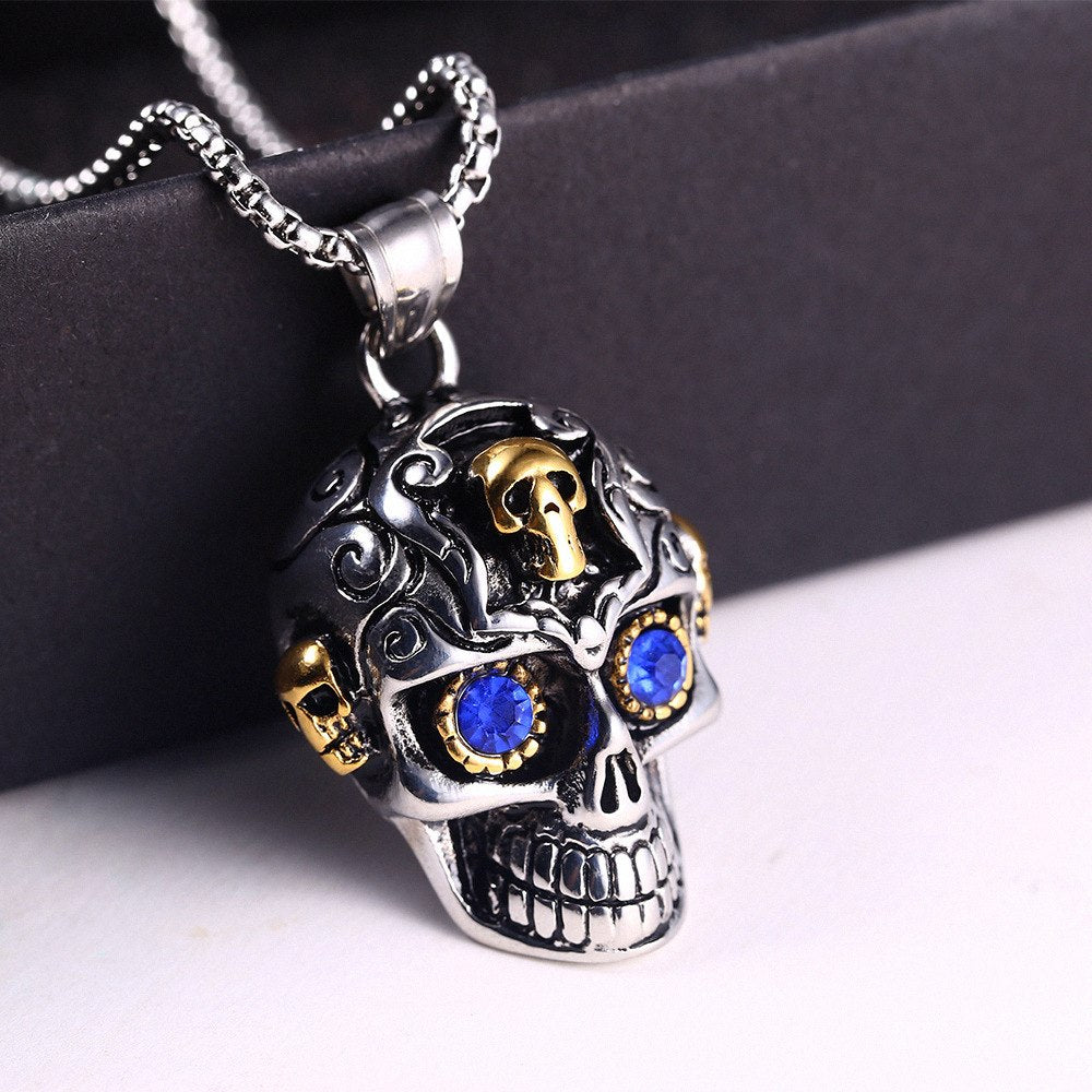 Crystal Eyes Skull Necklace For Men
