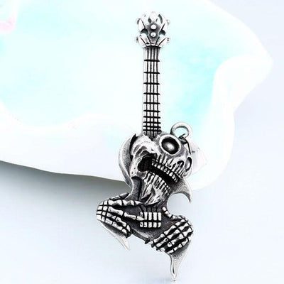 Guitar Ghost Skull Necklace For Men